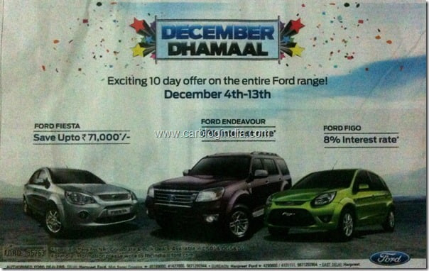 December Dhamaal–December 2010 Discount On Ford Cars India
