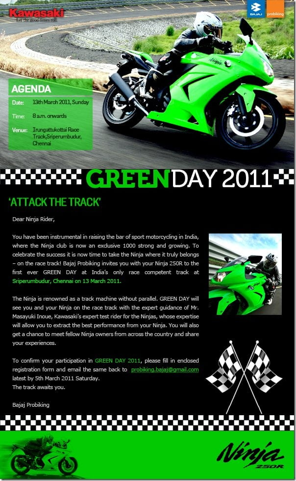 Bajaj Kawasaki Ninja 250 R Green Day–Ninja Owners In India Invited To Race Track !