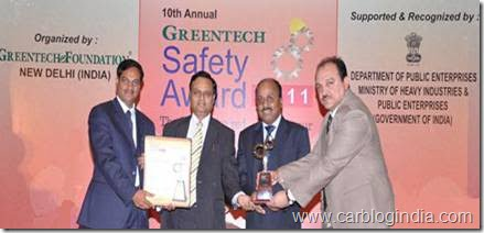 Skoda India Wins Prestigious international Greentech Safety Award for 2011