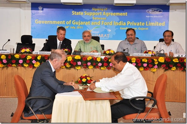 Ford India Gujarat Government  Agreement
