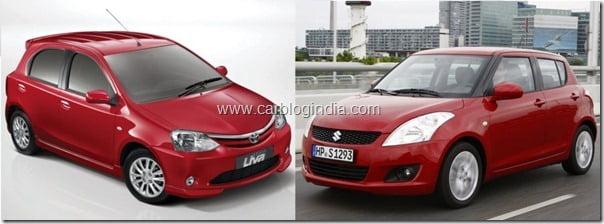 Toyota Etios Liva Vs Maruti Swift 2011