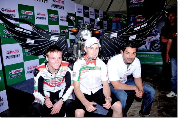 Castrol Brand Ambassador John Abraham with the Castrol Fly with Power1 Bike with Alex Lowes(l) and Jonathan Rea(r) in Mumbai