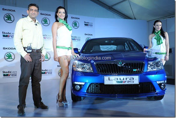 Mr Tarun Jha, Marketing Head, Skoda Auto India at the unveiling of Skoda's new Laura RS