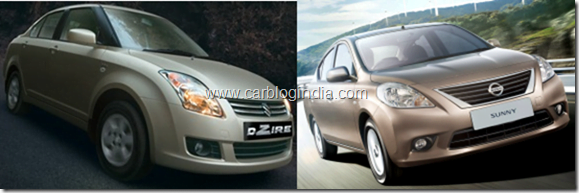 Nissan Sunny Petrol Vs Maruti Swift Dzire Petrol– Which Is Better And Why?