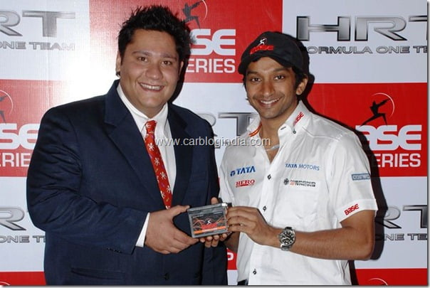 Event pic-Photo caption-From (LtoR) Aditya Arora, COO, Base Batteries handing over the first Indian battery made especially for Formula 1 cars to Narain Karthikeyan