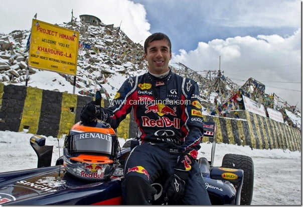 Neel Jani and his Red Bull Racing car at 18,380 feet