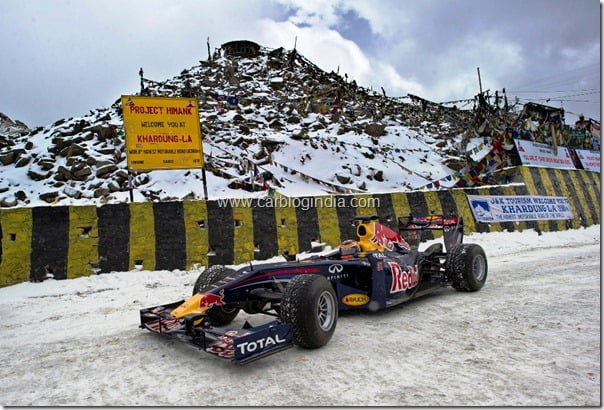 The Red Bull Racing car pushes boundaries at 18,380 feet in Khardung La