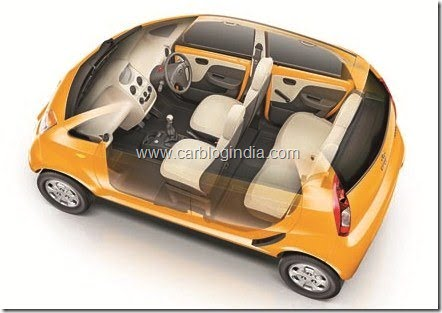 Tata Nano LX- Papaya Orange- top view