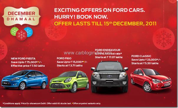 Ford India Cars Year End Car Discounts For December 2011