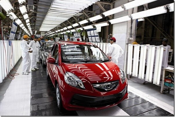 Honda Brio rolling out of the assembly line at HSCI Greater Noida Plant