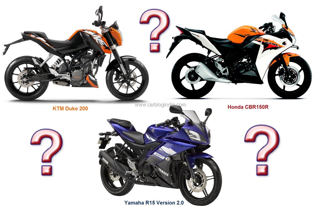 ktm duke 200 vs honda cbr150r vs yamaha r15 version 2.0- detailed