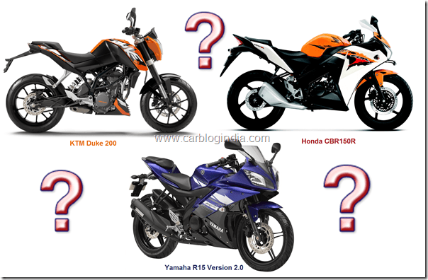 Honda CBR150R VS Yamaha R15 Vs KTM Duke 200