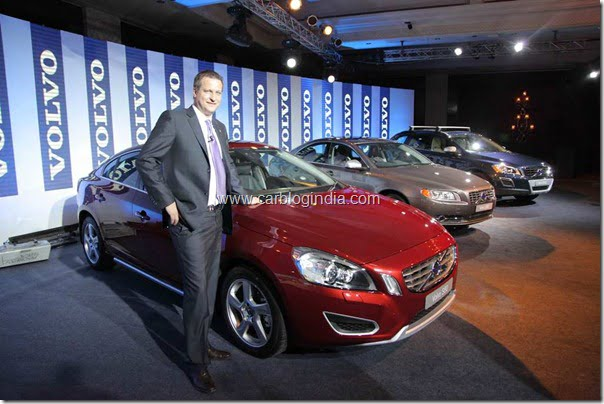 (L-R) Tomas Ernberg, Managing Director, Volvo Auto India with Volvo S60, Volvo S80, Volvo XC60 with new D3 Engine