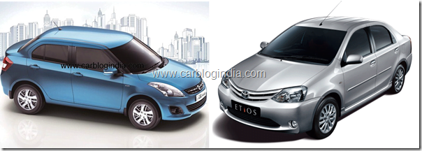 Maruti Swift Dzire 2012 Vs Toyota Etios Sedan