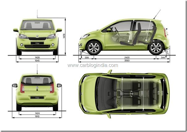 Skoda Citigo Small Car India Dimensions