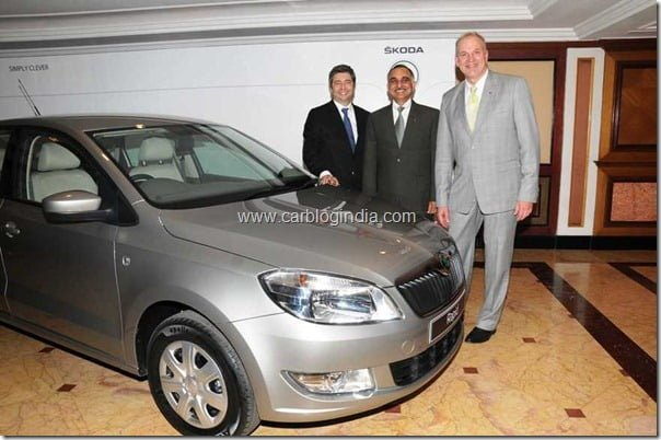 l-r Mr.Thomas Kuehl,Mr.Sudhir Rao and Mr.Jurgen Stackmann at the SKODA press conference in Mumbai - 01.03.12