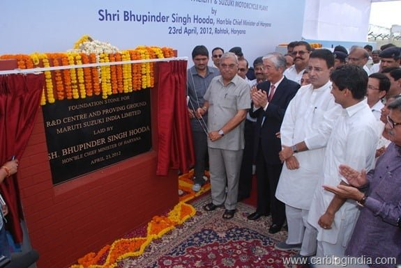Haryana CM Bhupinder Singh Hooda with Mr S Nakanishi MD and CEO MSIL at the foundation stone laying of Maruti Suzuki R&D at Rohtak
