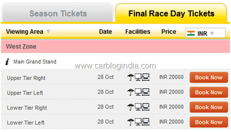 Indian F1 Grand Prix 2012 Final Race Day Tickets Prices