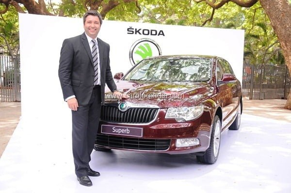Mr.Thomas Kuehl,Brand Head,Skoda Auto India at Superb Ambition launch in India