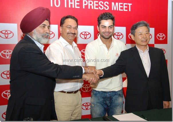Toyota Kirloskar Motor signs Virat Kohli as Brand Ambassador at Bangalore on 5th April'12