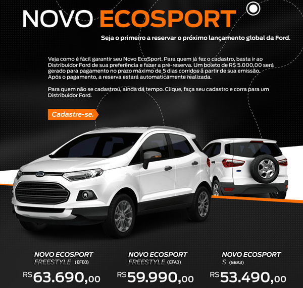 Ford EcoSport Brazil Variants and price