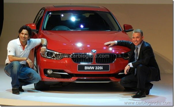 Sachin Teendulkar and De. Andreas Schaff with new BMW 3 Series