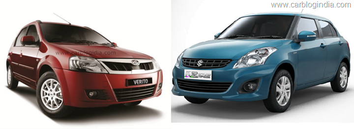 New Mahindra Verito Vs Maruti Swift Dzire– Battle Of Entry Level Sedans?