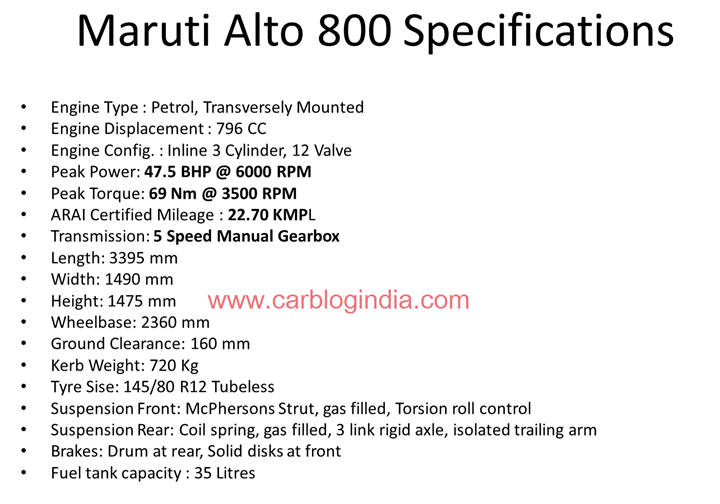 Maruti Alto 800 Detailed Specifications