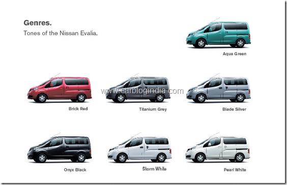 Nissan Evalia Colour Options India