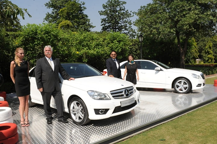 Mr. Peter Honegg, Managing Director and CEO, Mercedes-Benz India and Mr. Debashis Mitra, Director, Sales & Marketing, Mercedes-Benz India at launch of C-Class & E-Class Sport Edition.JPG