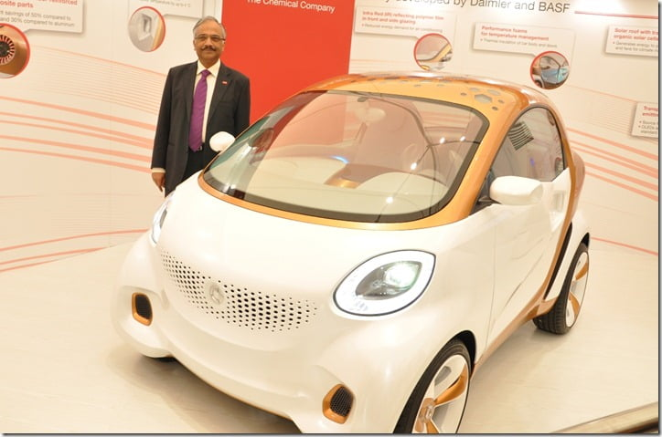 Mr. Prasad Chandran Chairman, BASF companies in india & Head South Asia with the concept car developed by Daimler AG and BASF