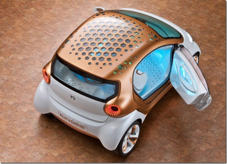 Smart forvision_2 - State-of-the-art materials and technologies allow new concepts to be implemented in the electric car that not only save energy, but even generate it. The resulting increase in driving r