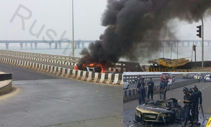 Audi R8 On Fire, Literally!– Fire Accident In Mumbai During Parx Supercar Show