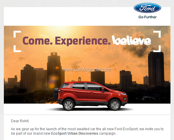 EcoSport Revealing On 15th March 2013