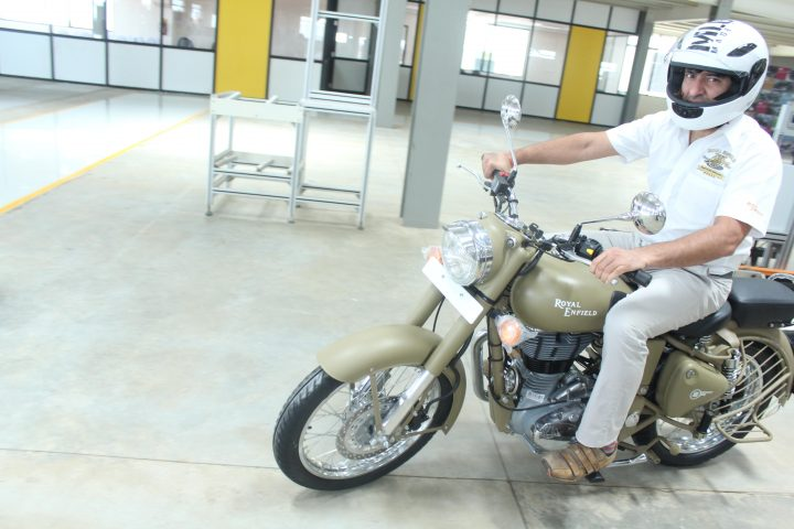 Mr Siddhartha Lal, MD & CEO Eicher Motors Ltd on the first bike-Royal Enfield-Desert Storm rolled out from Oragadam Plant