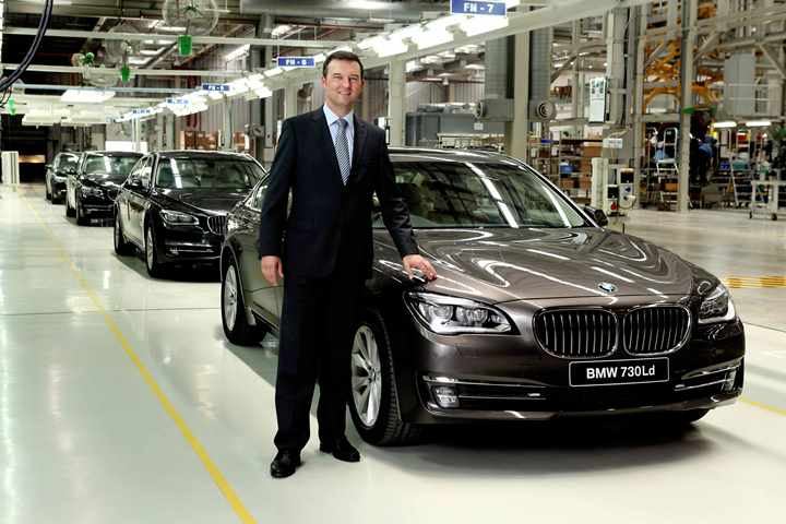 Mr. Robert Frittrang, MD, BMW Plant Chennai with  the new BMW 7 Series