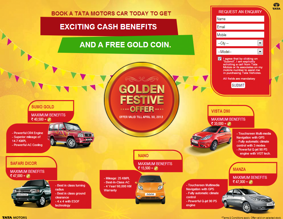 Tata Motors Offers Discounts And Gold Coins To Boost Sales