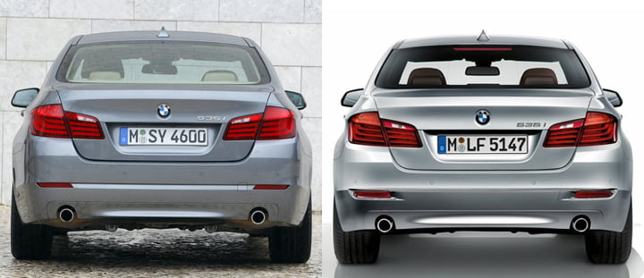 BMW 5 Series Comparison, Rear