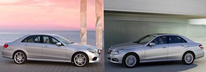 Comparison: Left: Mercedes-Benz W213, Right: Mercedes-Benz W212 side