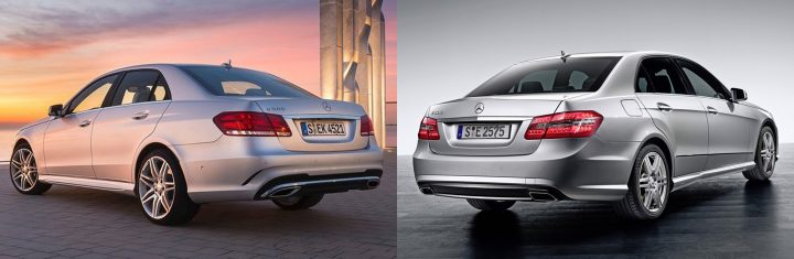 Comparison: Left: Mercedes-Benz W213, Right: Mercedes-Benz W212 rear
