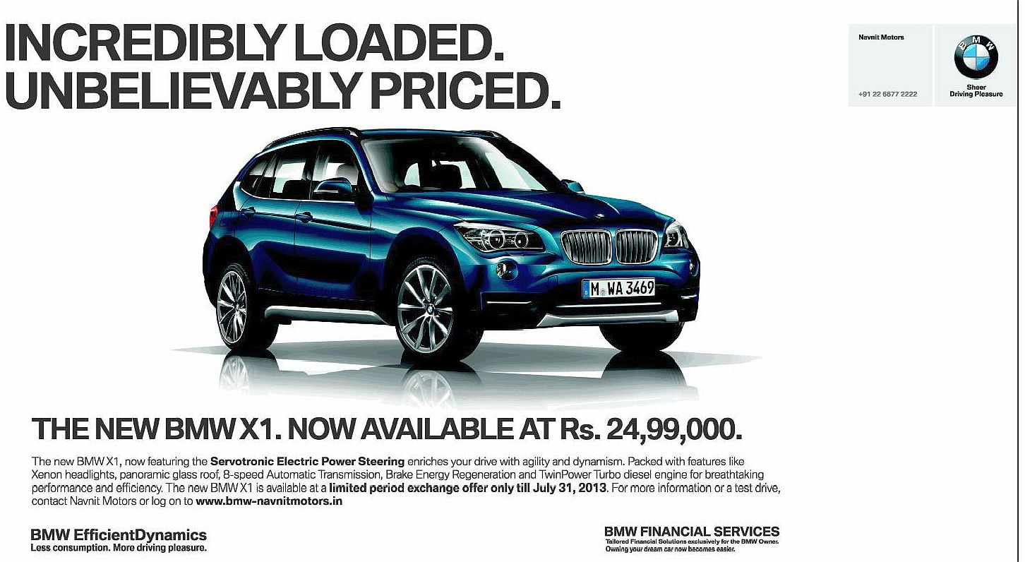 BMW X1 Gets A Heavy Discount To Sell For Rs 2499 lakh
