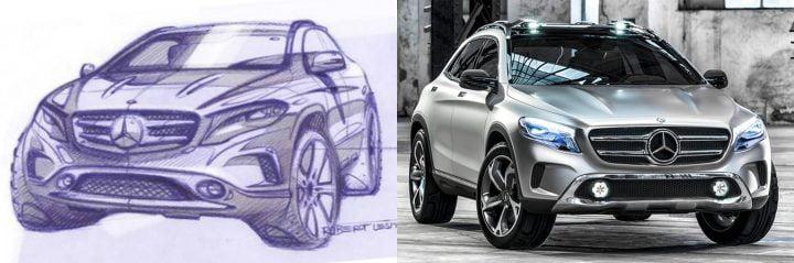 Mercedes-Benz GLA Sketch vs. 2013 Mercedes-Benz GLA Concept