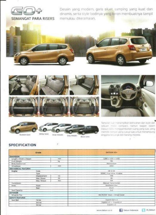 Datsun Go+ Specifications
