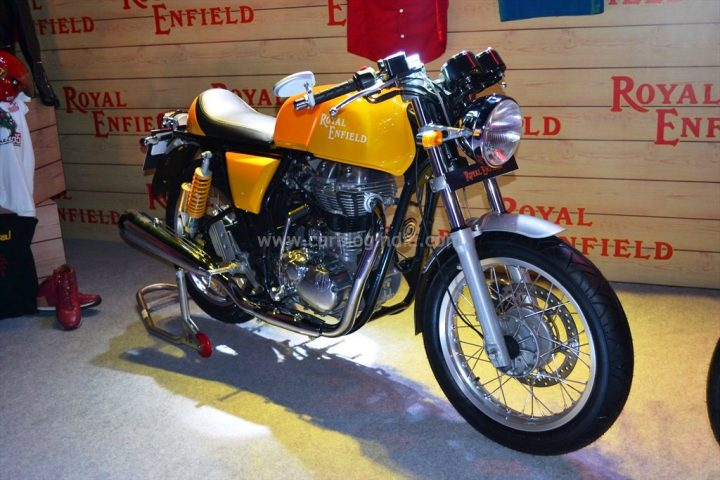 image- Yellow Coloured Royal Enfield Continental GT Cafe Racer Motorrcycle