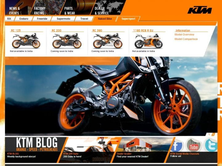 KTM RC 200 and KTM RC 390 India Launch