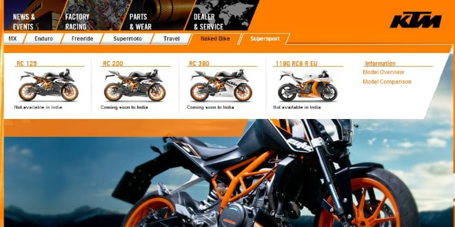 KTM RC 200 and KTM RC 390 India Launch In September 2014?
