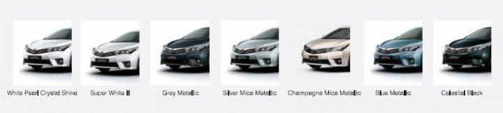 2014 Toyota Corolla Altis Paint Options