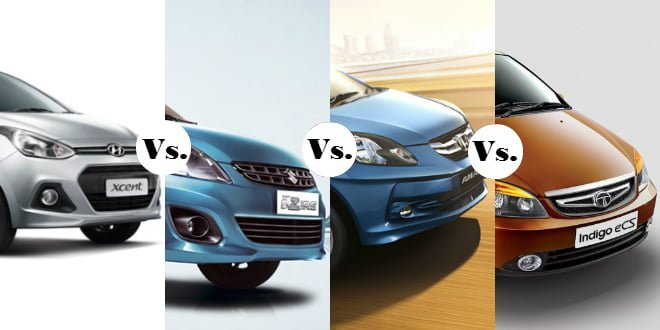 Xcent vs Swift Dzire vs Amaze vs Indigo eCS Featured Image