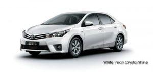 2014 Toyota Corolla Altis White Pearl Crystal Shine Paint