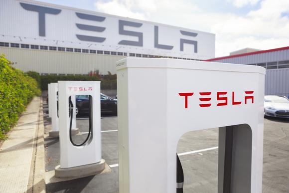 Tesla Supercharger Station in Fremont, California